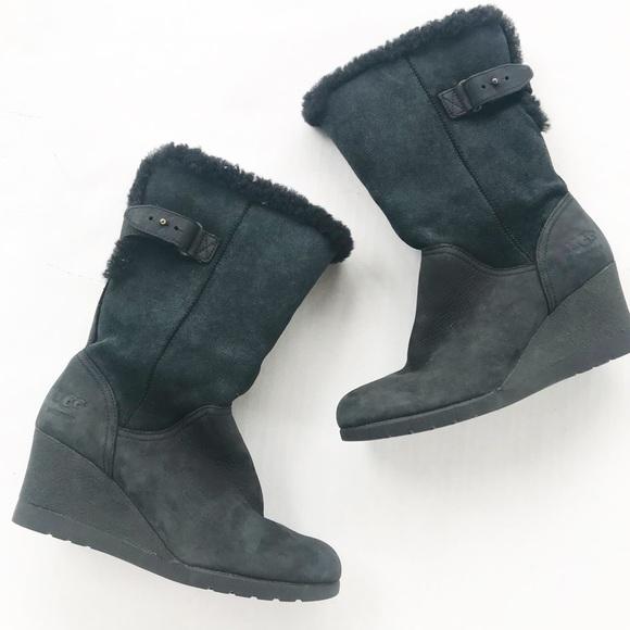 9777534aeb8b UGG pure Boots Edelina Leather Suede Wedge Black 5.  M 5bc7ea29baebf696d00171a8